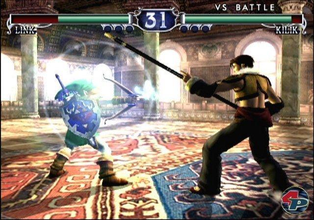 <b>Soul Calibur 2</b><br><br> Auch in Third-Party-Spielen durfte Link auftreten: Im brillanten Schwert-Prügler Soul Calibur 2 konnte er z.B. Zelda-typisch mit dem Bogen schießen und Bomben sowie einen Bumerang schmeißen. 2347112