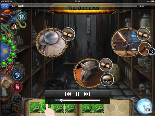 Oben die drei Aufgaben des Raumes, unten die verfügbaren Runen - man muss die passenden einfach hochziehen.