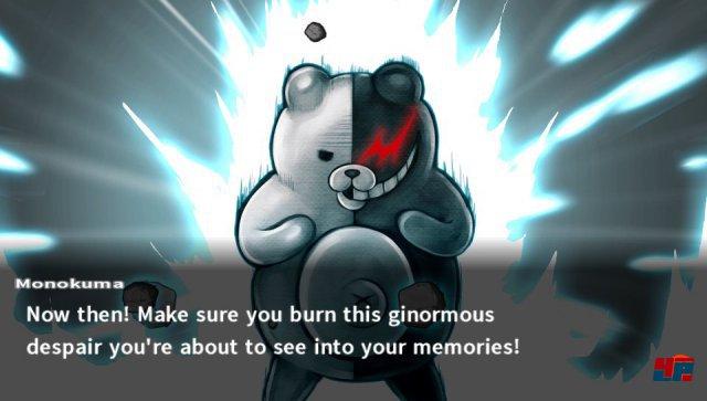 ...doch schon bald ziehen dunkle Wolken auf und Sado-Bär Monokuma gibt sich die Ehre.