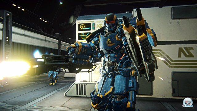 """Auch in Gebäuden geht es zur Sache. Hier ist die """"Mechanized Assault Exo-Suit"""" (kurz Max) zu sehen."""