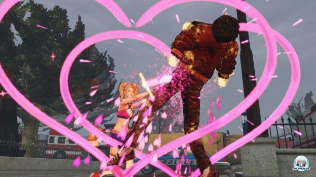 Juliet setzt Herzchen und Regenbögen als Kontrapunkt zum Enthaupten der Zombies.