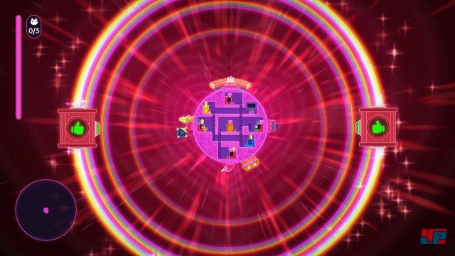 Die Reise beginnt: Das rosarote Raumschiff macht sich auf die Suche.