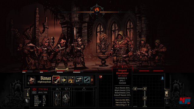 "Links die eigene Gruppe, rechts die Monster. Es gibt zehn Klassen in Darkest Dungeon, vom ""Highwayman"" über den ""Jester"" bis zum ""Bounty Hunter""."