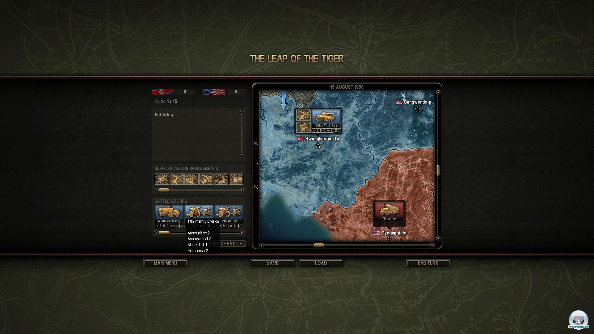 Auf der strategischen Karte plant man die Truppenbewegungen.