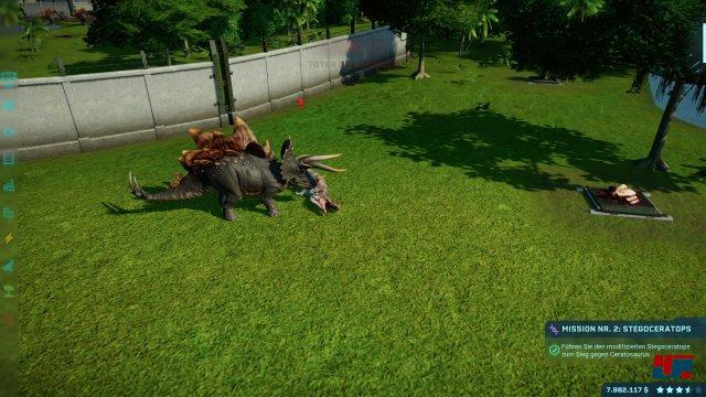 Der Stegoceratops hat den Ceratosaurus besiegt.