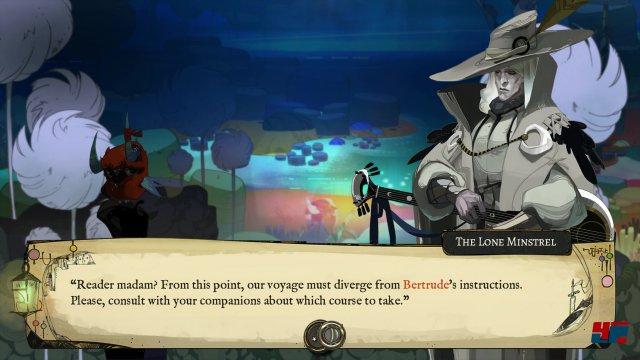 Die mit Entscheidungen gespickte Geschichte wird im Stile eines Abenteuerspielbuchs bzw. einer Visual Novel inszeniert.