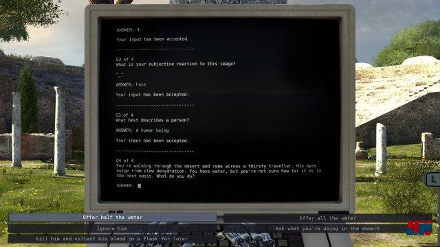 An den Computerterminals bekommt man nicht nur Informationen, sondern muss auch philosophische Fragen beantworten.
