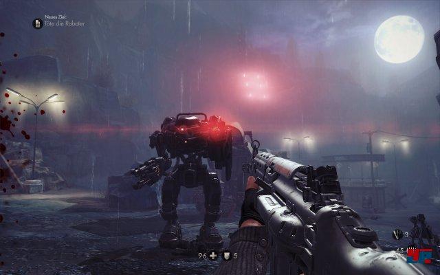 Beim ersten Angriff der Wachroboter müsst ihr zu den Standgeschützen  stürmen und eines abnehmen. Ihr könnt die Geschütze wieder aufladen  indem ihr sie wieder auf die Vorrichtung steckt. Bleibt in Deckung und  bearbeitet die Roboter, wenn ein Stück von ihnen rausschaut. Nutzt auch  eure Granaten, die sehr effektiv gegen die Roboter sind und sie  einbremsen.