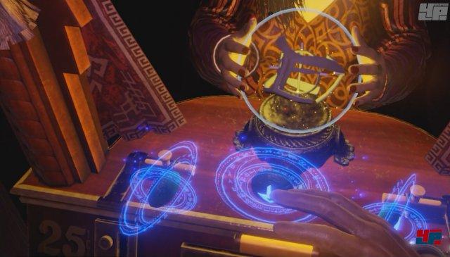 Der altbekannte Wahrsager-Automat wird mit einem dreidimensionalen Schwebe-Puzzle aufgepeppt, das schön von der Räumlichkeit profitiert.