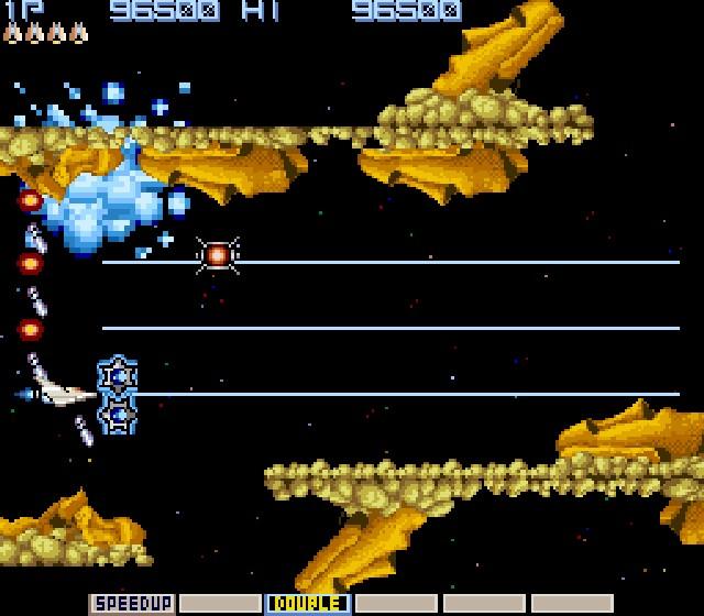 Gradius / Nemesis<br><br>Mit der Gradius-Serie (hierzulande zum Teil als »Nemesis« bekannt) setzte Konami Shooter-Maßstäbe, und das nicht nur im spielerischen Sinne: Das Waffen-Wahlsystem, der »Power Meter« sorgte für ein völlig neues Spielgefühl, konnte man damit doch die Bewaffnung von »Vic Viper«, so der hochgradig alberne Name des Raumschiffs, mitten im Spiel den eigenen Vorlieben anpassen. Es gibt fünf offizielle Teile, der letzte davon vor drei Jahren von den Actiongöttern Treasure für PS2 entwickelt, und noch viel mehr Ableger der Serie - der coolste davon... 1714980