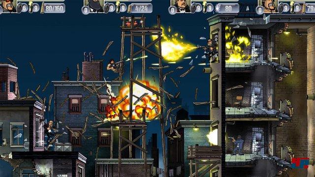 Feine Animationen und schicke Explosionen machen aus Guns, Gore & Cannoli einen actionreichen Cartoon zum Mitspielen.