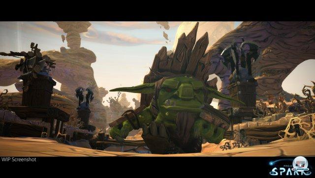 """Der kantige Goblin lässt sich als Held oder Gegner nutzen und in der Größe """"aufblasen"""". Später soll auch ein Charakter-Editor mit mehr Möglichkeiten folgen."""