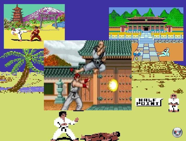 Nach Karate Champ schossen die Seitenprügler wie Pilze aus dem Boden - Titel wie The Way of the Exploding Fist, Yie Ar Kung Fu oder International Karate sind aus dem kollektiven Aufsmaul-Gedächtnis nicht mehr zu löschen. Ein Name hat dabei allerdings besonderes Gewicht: Street Fighter. Denn obwohl das Spiel an sich schon 1987 ziemlicher Mist war, legte es nicht nur den Grundstein für den zukünftigen Erfolg (inkl. später lieb gewonnener Figuren wie Ryu, Ken oder Sagat), sondern war auch das erste Spiel seiner Art, das sowohl mehrere Buttons zur Eingabe unterschiedlich starker Manöver nutzte als auch Kombos auf Basis von Richtungs- und Tasteneingaben zündete. 1911898