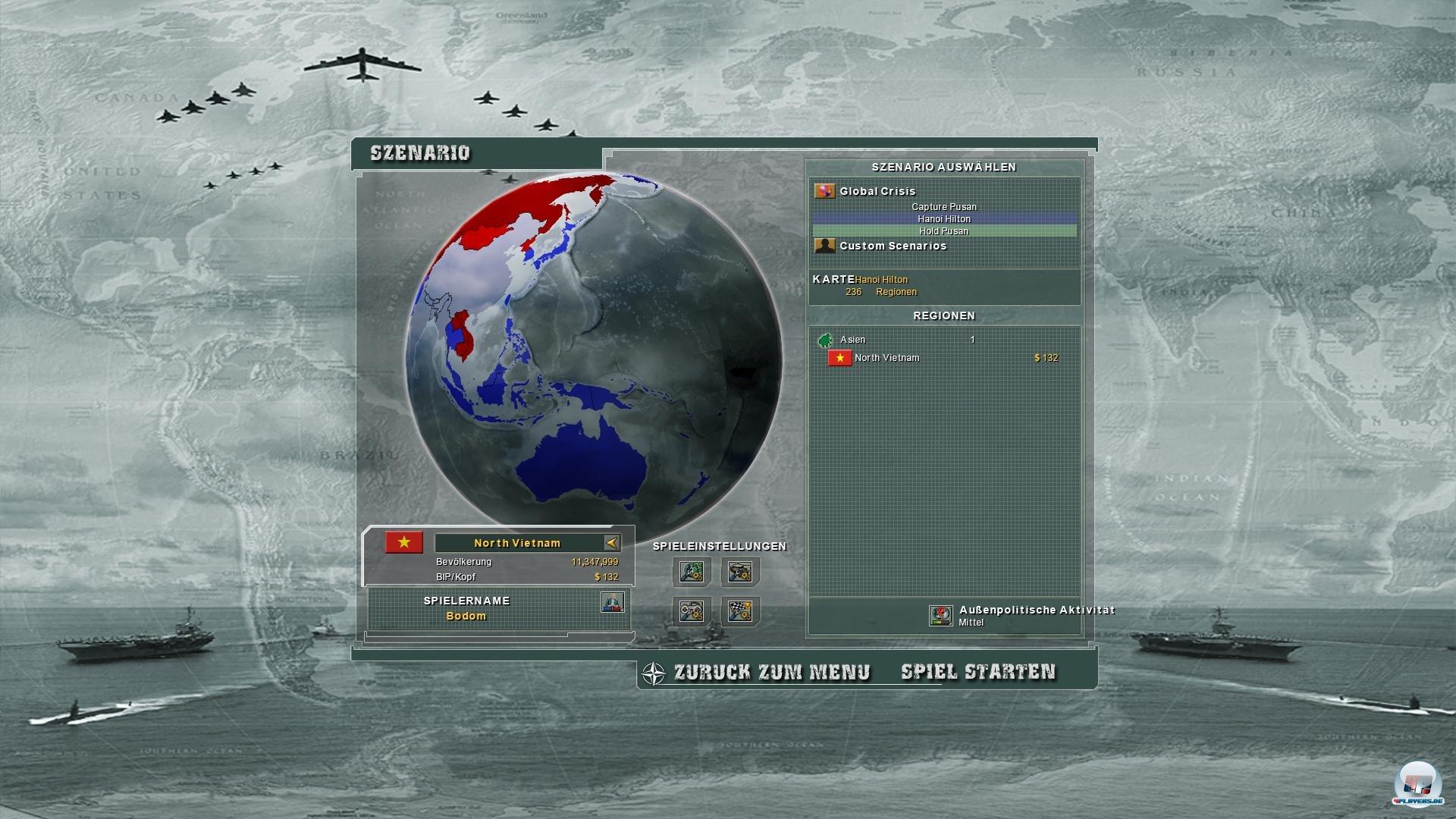 Neben den zwei Supermächten kann man auch noch kleiner Länder spielen.