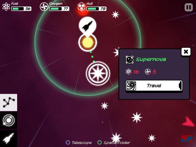 Auf der Sternenkarte wählt man sein nächstes Ziel; dabei werden Sprit- und Sauerstoffverbrauch angezeigt.