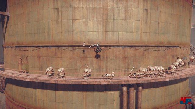Automata setzt auf ähnliche Elemente wie der Vorgänger, z.B. seitwärts scrollende Abschnitte im Wechsel mit Schulter- oder Vogelperspektive.