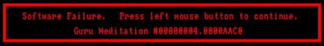 Der Guru <br><br>  Eines darf bei einer Bilderserie aber nicht fehlen: die Guru Meditation! Wo Windows selbst heute noch mit verhassten, unverst�ndlichen Fehlermeldungen den PC zum Absturz bringt, brachte man der rot umrandeten Fehlermeldung des Amiga-Betriebssystems zumindest einen kleinen Sympathiebonus entgegen. Verstanden hat man die Guru Meditation zwar auch nicht, aber zumindest kam es nicht ganz so oft vor wie bei manchen Windows-Katastrophen...  2133083