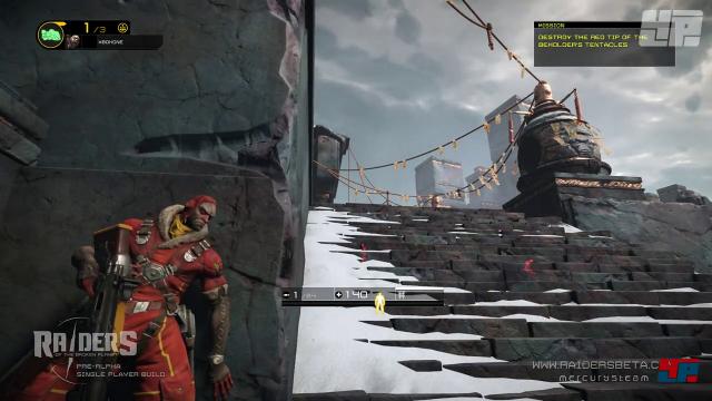 Im Kern ist Raiders of the Broken Planet ein Deckungsshooter. Durch Stress und die Droge Aleph können aktive Gegner auch durch Mauern gesehen werden.
