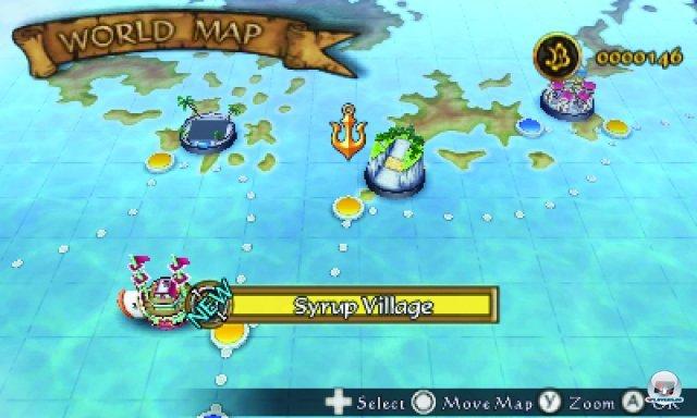 Über die Seekarte schippert man von Insel zu Insel.