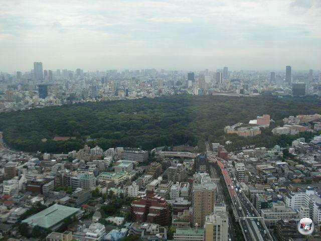 Auch am zweiten Tag wurde das Wetter nicht besser. Aber immerhin haben wir vom Hotelzimmer einen prima Blick über den Yoyogi-Park, Roppongi Hills, Shibuya und mehr. Würde Godzilla vorbeistapfen, wir könnten ihn direkt füttern. 2153068