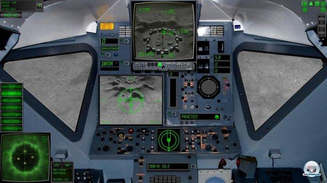 Blick aus der Kanzel in der Cockpitperspektive.
