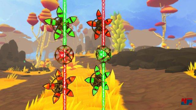 Mit dem hier zu sehenden Farbwechslern bringt man unterschiedliche Blumen zum Erblühen. Mit Hilfe kleiner Teleporter-Kugeln lässt sich der Strahl sogar an andere Orte beamen.