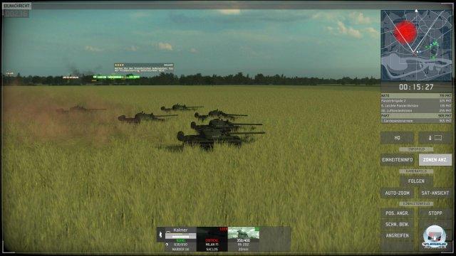 Die Panzer sehen gut aus und ziehen Schneisen durch die Felder - die Rotoren von Hubschrauber haben keinerlei Effekt.