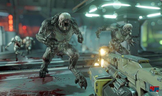 Doom 3 war düster und bedrohlich. Auf dem Mars ist die Jagd auf die Kreaturen aus der Hölle jetzt mehr auf Action denn auf Spannung getrimmt.