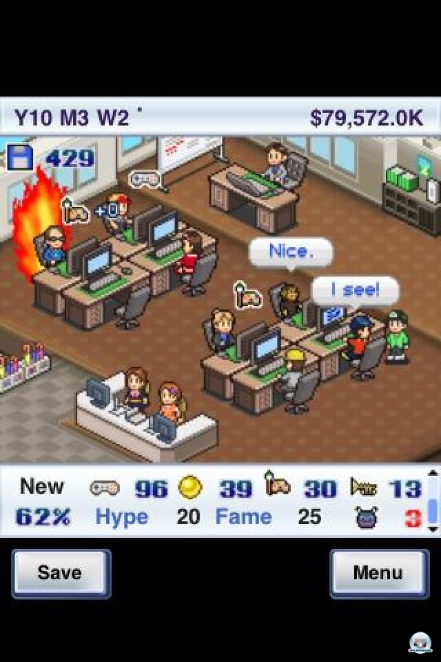 <b>Game Dev Story</b> <br><br> Einfach mal selbst zum Spielentwickler werden: Kairosofts Game Dev Story erfüllt diesen Traum, und zwar ohne, dass man mit kryptischem Code hantieren muss. Die iPhone-Fassung staubte im Frühjahr 85 Punkte und unseren Gold-Award ab. 2236067