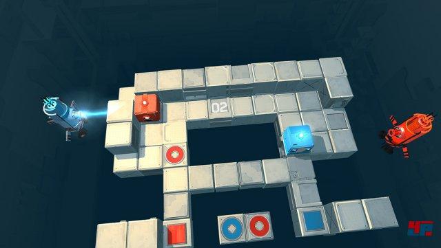 Death Squared könnt ihr alleine, zu zweit oder zu viert spielen.