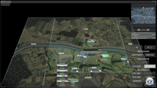 Die Satellitenansicht erinnert umgehend an RUSE - man kann hinunter bis zum Soldarten zoomen.