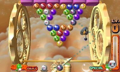 Puzzle Bobble, wie man es kennt - nur dass jetzt im Hintergrund ein 3D-Planet seine Runden dreht und das Spielprinzip lachhaft vereinfacht wurde.