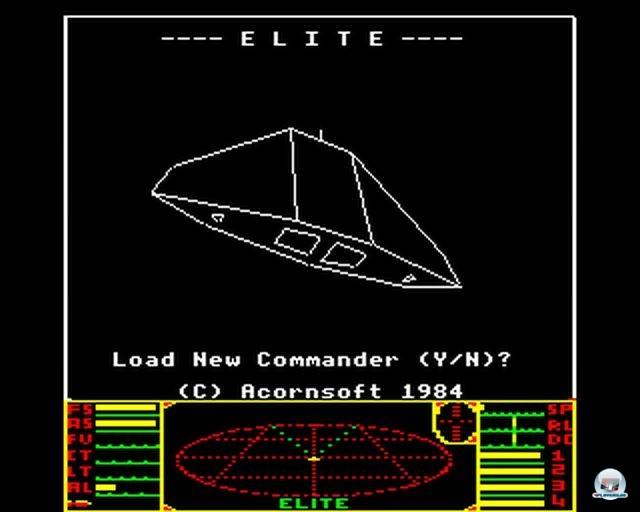 Das Ur-Elite war bis auf das HUD komplett schwarzweiß (BBC Micro, 1984).