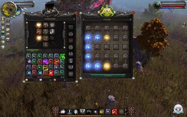 Um Kisten zu öffnen, muss man mit gefundenen Runen den Sperrzauber überbrücken.