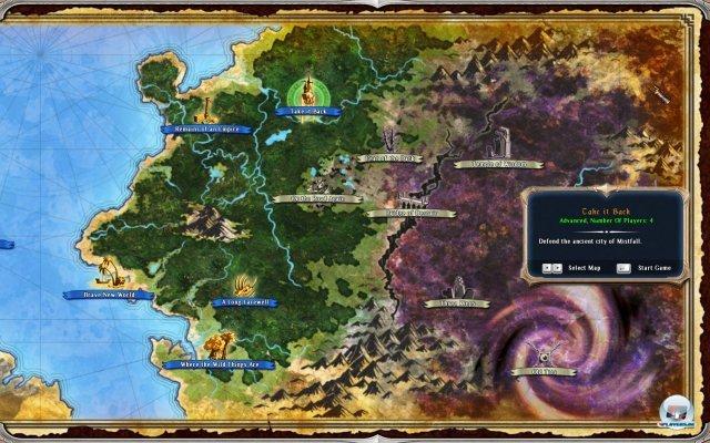 Auf der Karte von Ardania wählt ihr die nächste Mission aus.