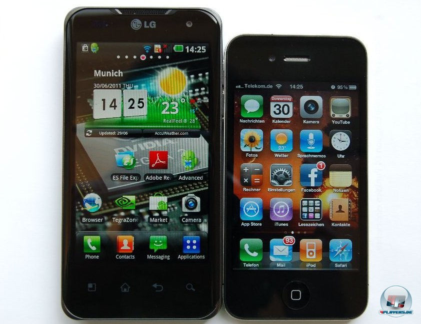 Das Optimus Speed im Vergleich zum IPhone