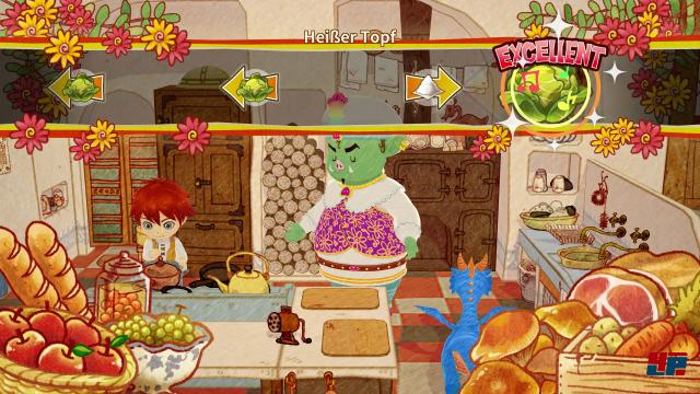 Das interaktive Zubereiten der Speisen erinnert an die Reaktionstests von Tanzspielen.