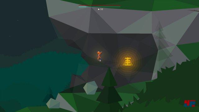 Um an die Rune für das E zu gelangen, muss man die für die D-Rune überflogene Anhöhne nochmals ein Stück links hinab gleiten. Dort lässt sich dann rechter Hand ein Fels entfernen, wohinter eine kleine Höhle mit der gesuchten Rune liegt.