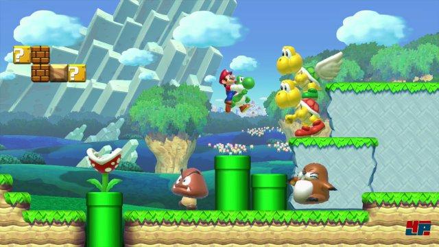 Auch Yoshi darf nicht fehlen. Wer einen Amiibo von Link einsetzt, kann au�erdem mit dem Zelda-Helden durch die Welt h�pfen.