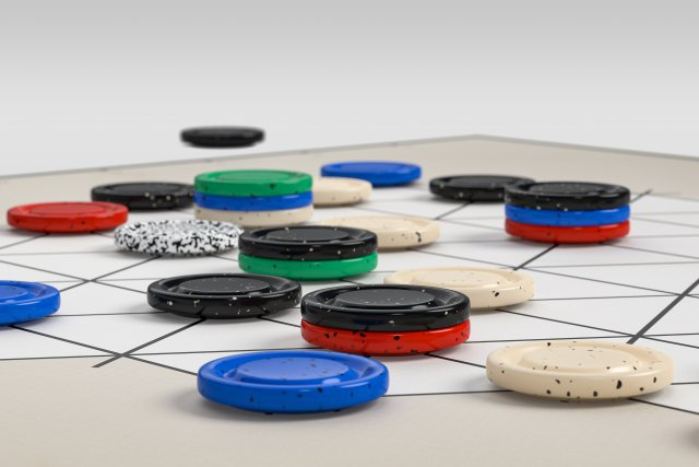 Das bunte Gitternetz wird bei jedem Spielstart zufällig zusammengesetzt.