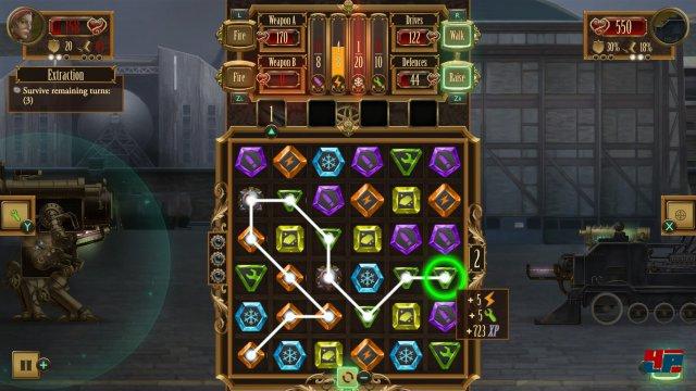 Ähnlich wie in Puzzle Quest kombiniert man farbliche markierte Steine, um Ressourcen für Angriff und Verteidigung zu sammeln.