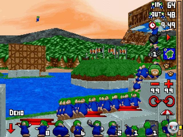 1995 - neues Jahr, neue Lemminge. Dieses Mal allerdings erstmals nicht von DMA Design entwickelt, die die Lemmings-Rechte an Psygnosis verkauft hatten. Stattdessen werkelte das bis dahin eher unbekannte Studio Clockwork Games an dem neuen Teil, der erstmals den Sprung in die damals gerade  so populären 3D-Gefilde unternahm: »Lemmings 3D« ward geboren! Und es war, allen Grundvoraussetzungen zum Trotz, ein erstaunlich gutes Spiel. Frühe 3D-Games litten fast durch die Bank an einer scheußlichen Kamerakontrolle; ein Problem, das die 3D-Lemminge sehr gut im Griff hatten. Das auf PC, PlayStation und Saturn veröffentlichte Spiel bot wieder die Originalfähigkeiten des ersten Spiels, erweitert durch einen neuen Nager-Beruf namens »Turner« - damit ließen sich die Grünhaarhorden umleiten. Erstmals durfte man außerdem in die Haut eines Lemmings fahren und via VL (»Virtual Lemming«) durch seine Augen erfahren, wie sich eine Comicexplosion anfühlt. Auch hier gab es eine weihnachtliche Erweiterung namens »3D Lemmings Winterland«. 2202947