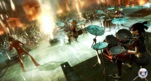<b>Guitar Hero 5</b><br><br>Guitar Hero im Partyrausch: Mittlerweile kann man mitten im Song den Schwierigkeitsgrad und das Instrument wechseln, selbst bizarre Kombinationen (wie vier Schlagzeuge) sind problemlos möglich. Ob Konkurrent Rock Band da gegenhalten kann? 1954178