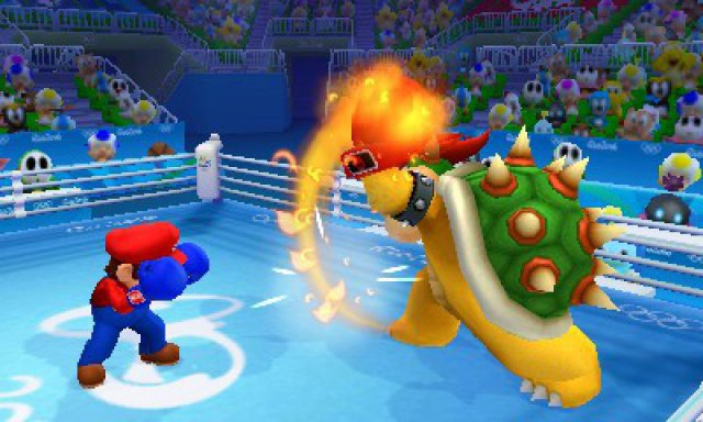 Beim Boxen kann man natürlich auch klassische Duelle wie Mario gegen Bowser veranstalten.