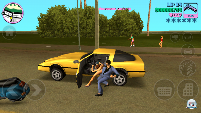 Fahrer raus, Tommy rein - so funktioniert das in Vice City. Hier ist gut zu sehen, wie sehr der Bildschirm mit Icons zugekleistert ist - und dabei sind noch nicht mal alle zu sehen.