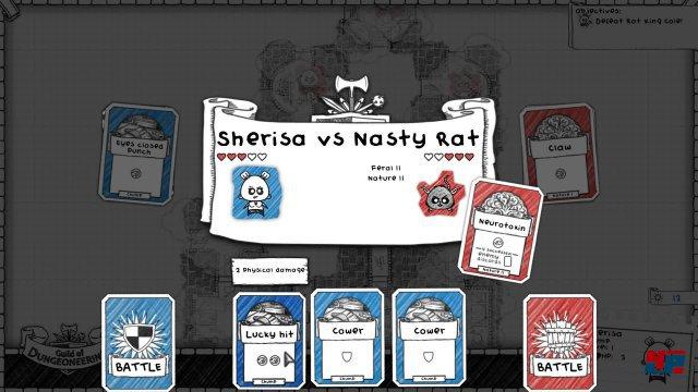 In den Auseinandersetzungen legt man fest, welche Karte der Held ausspielen soll.