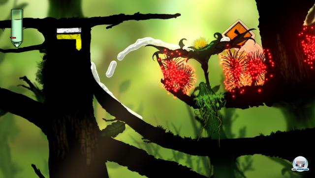 Knifflig: Nur wer zuerst einen Samen in die Erde bugsiert, kann mit Hilfe der neuen Pflanze die roten Stacheln überqueren.