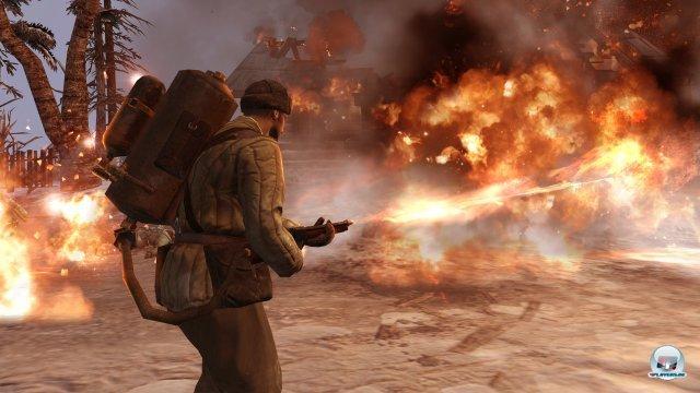 Flammenwerfer-Infanterie ist effektiv gegen befestigte Stellungen. Die Tanks der Truppen können bei Beschuss explodieren.