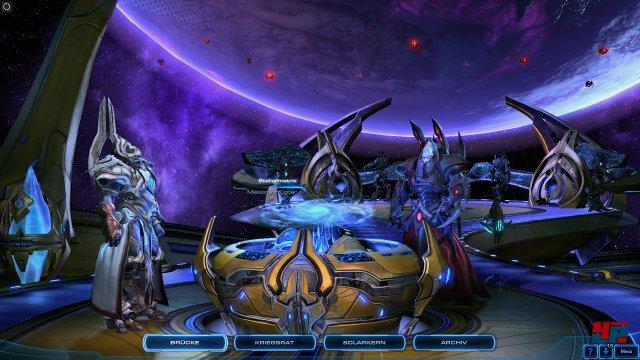 An Bord der Speer des Adun k�nnen Missionen ausgew�hlt, die Armee angepasst und Gespr�che gef�hrt werden - wie schon auf der Hyperion und dem Leviathan.
