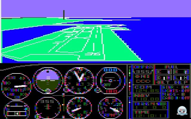 <b>Microsoft Flight Simulator</b> <br><br> Auch Microsoft bekam Wind vom Erfolg des Titels und schnappte sich die Rechte f�r eine MS-DOS-Umsetzung: Der Microsoft Flight Simulator 1.00 von 1982 setzte den Ausflug in die L�fte noch h�bscher um. Es durfte �ber Boston, New York, Los Angeles Seattle und Chicago geflogen werden - au�erdem lie�en sich bereits Wetter und Jahreszeiten einstellen. Wer das Szenario fl�ssig und in Farbe sehen wollte, brauchte allerdings eine CGA-Grafikkarte und einen Color-Composite-Monitor. 2241048